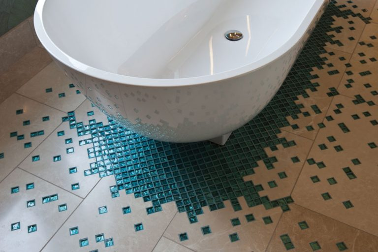 Detail of bathroom floor in Lancashire residence