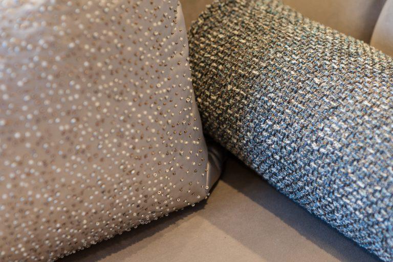 Close up image of cushion fabrics